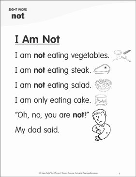 "I Am Poem Worksheet Elegant I Am Not Poem for Sight Word ""not"""