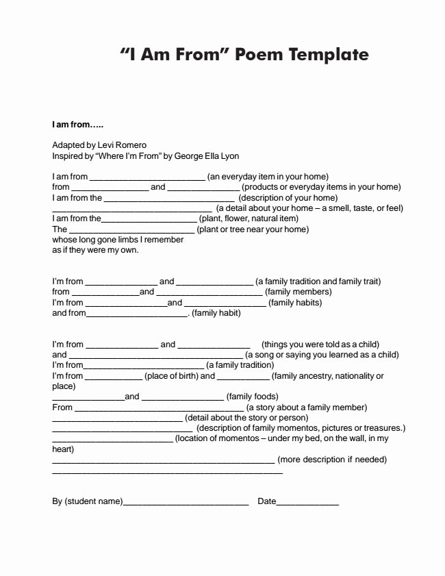 I Am Poem Worksheet New I Am Poem Examples for High School Spoken Word