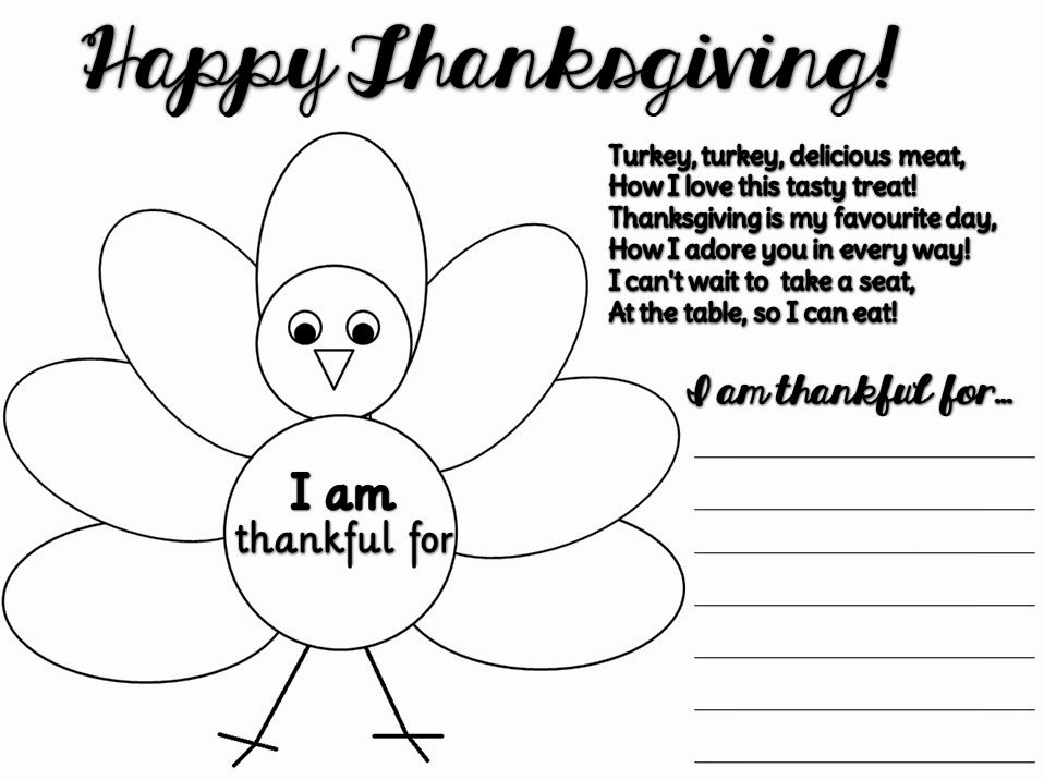 I Am Thankful for Worksheet Beautiful Early Play Templates Thankful Thanksgiving Templates
