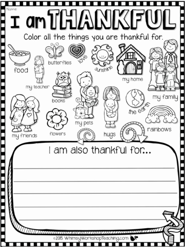 I Am Thankful for Worksheet Beautiful Teaching Gratitude and Kindness Whimsy Workshop Teaching