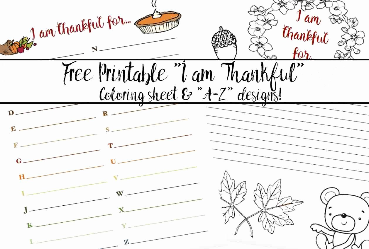 "I Am Thankful for Worksheet Inspirational Free Printable ""thankful for"" Worksheet 2 Designs"