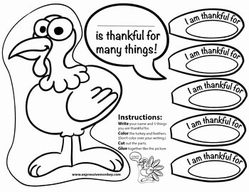 I Am Thankful for Worksheet Lovely Free Thankful Turkey Feathers