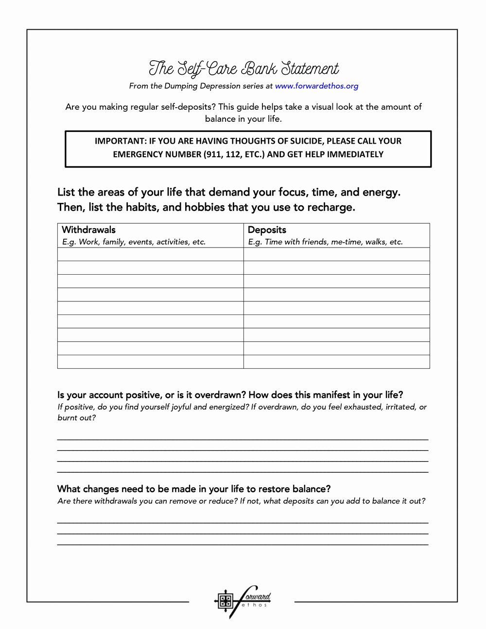 I Feel Statements Worksheet Best Of Self Care Bank Statement — forward Ethos