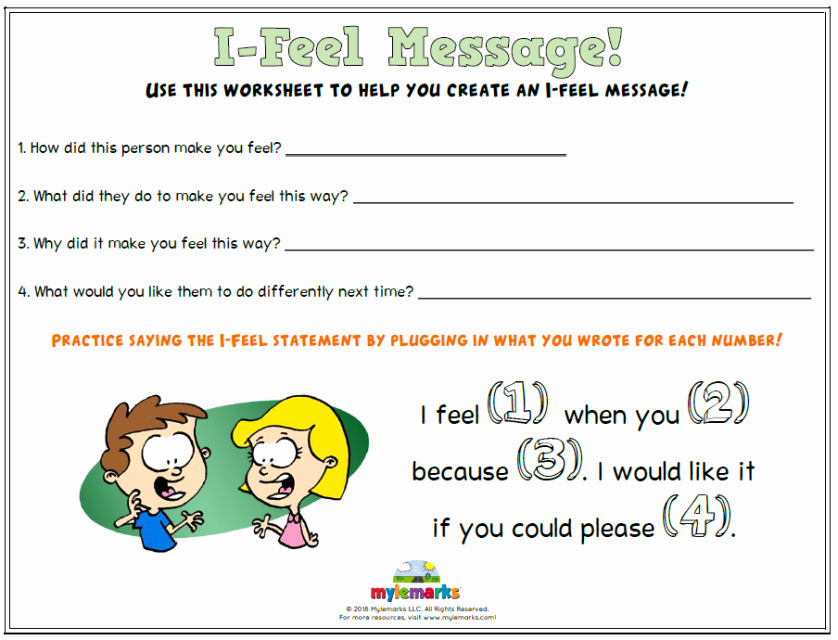 I Feel Statements Worksheet Fresh Feelings and Mood Worksheets for Kids and Teens