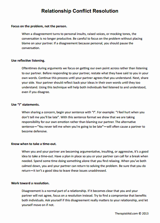 I Feel Statements Worksheet Inspirational Relationship Conflict Resolution Worksheet