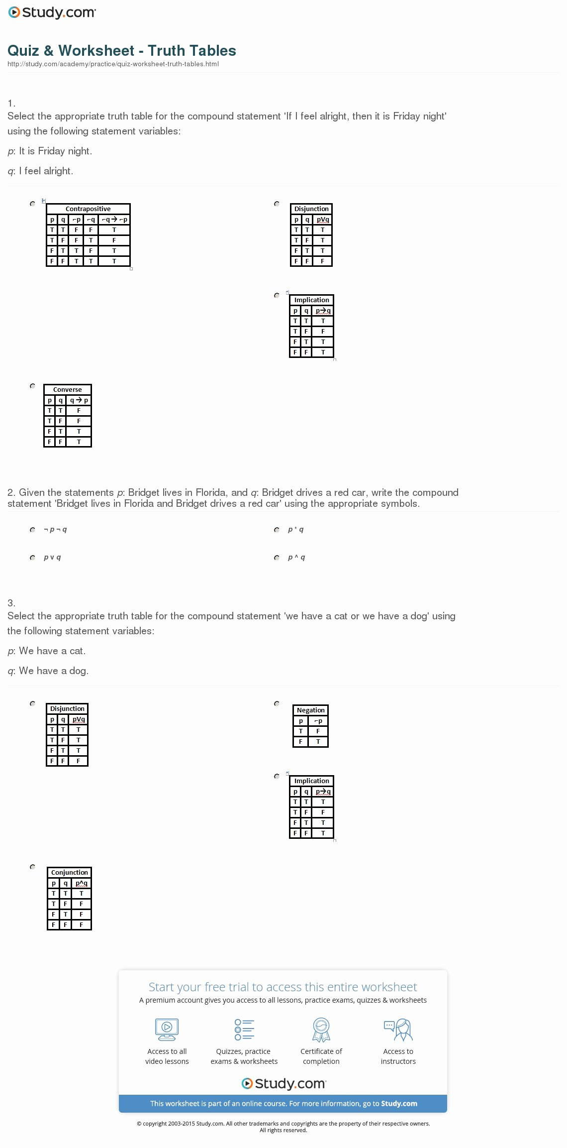 I Feel Statements Worksheet Luxury Quiz & Worksheet Truth Tables
