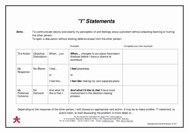 I Feel Statements Worksheet Unique Pin On assertiveness