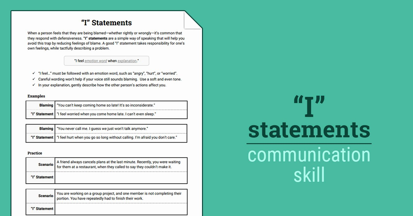 "I Feel Statements Worksheet Unique ""i"" Statements Worksheet"
