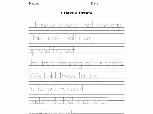 I Have A Dream Worksheet Inspirational I Have A Dream Tracing Worksheet for 2nd 4th Grade