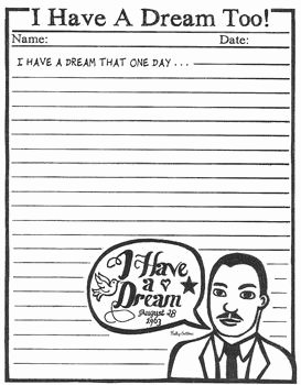 I Have A Dream Worksheet New Have A Dream too Mlk Creative Writing Frompo