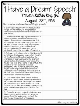 "I Have A Dream Worksheet Unique ""i Have A Dream"" Speech Analysis Worksheet Martin Luther"