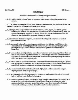 I Have Rights Worksheet Answers Beautiful Bill Of Rights Matching Amendments