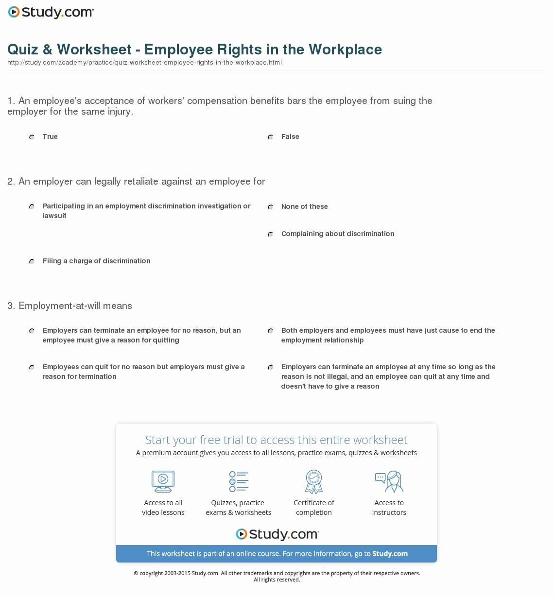 I Have Rights Worksheet Answers Beautiful Quiz & Worksheet Employee Rights In the Workplace