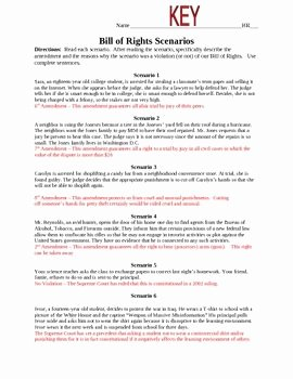 I Have Rights Worksheet Answers Unique Bill Of Rights Scenarios Homeschool