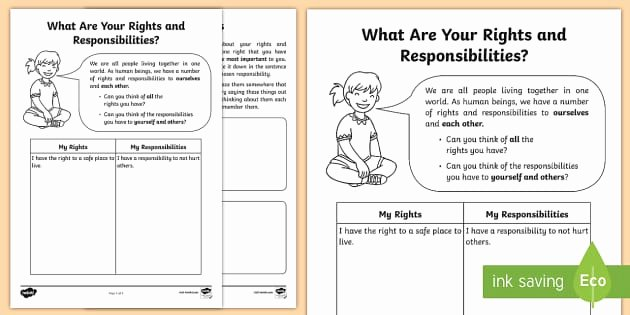 I Have Rights Worksheet Lovely What are Your Rights and Responsibilities Worksheet