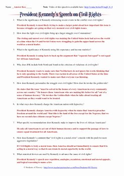I Have Rights Worksheet New President Kennedy S Civil Rights Speech Worksheet by