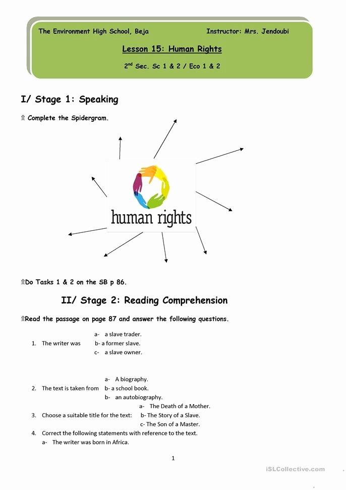 I Have Rights Worksheet Unique Human Rights Worksheet Free Esl Printable Worksheets