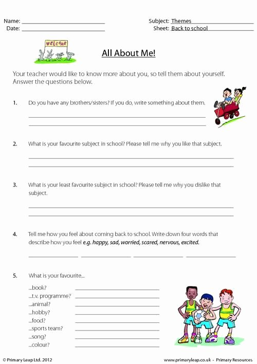 I Vs Me Worksheet Beautiful Primaryleap Back to School All About Me 2
