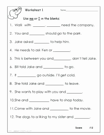 I Vs Me Worksheet Best Of Grammar Worksheets