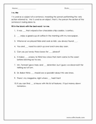 I Vs Me Worksheet Elegant New 53 First Grade Worksheets Using I and Me