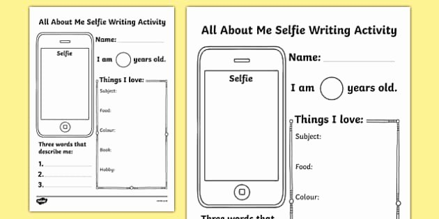 I Vs Me Worksheet Unique All About Me Selfie Writing Worksheet Start Of the