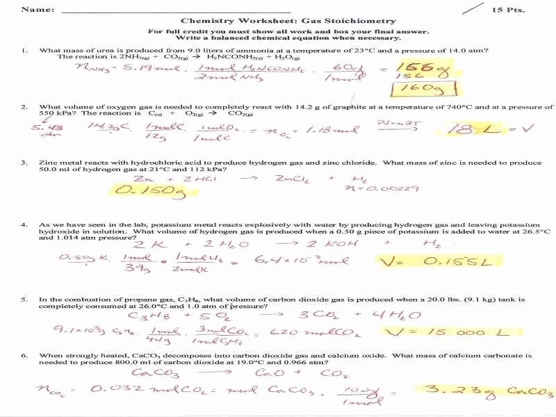 Ideal Gas Law Worksheet Awesome Ideal Gas Law Worksheet
