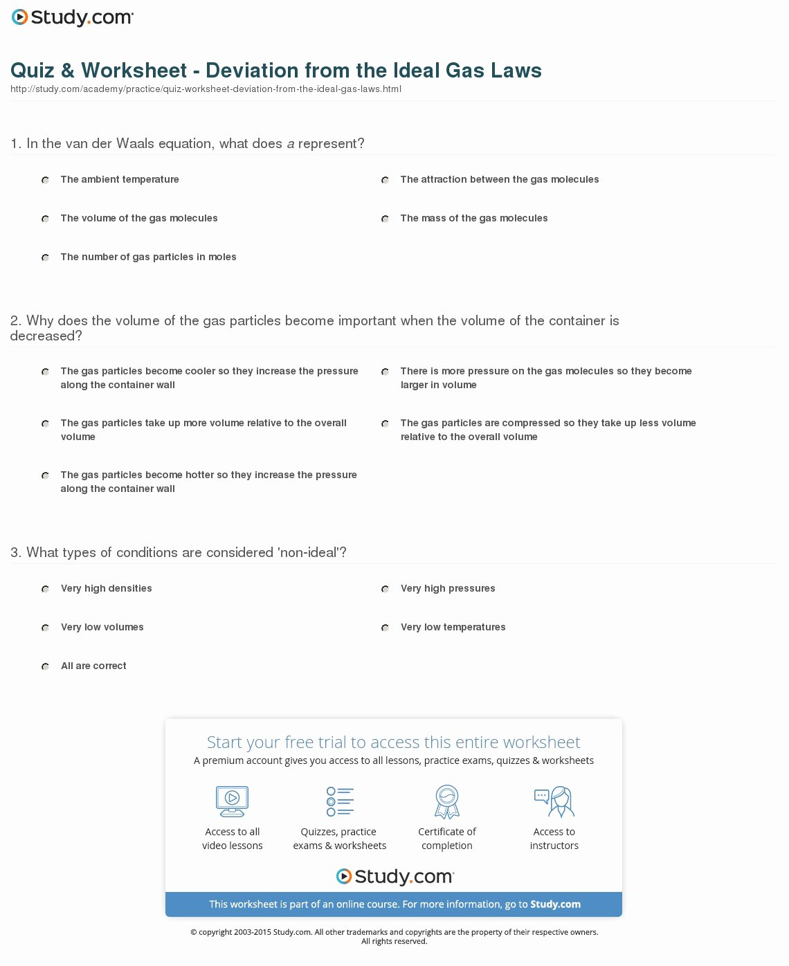 Ideal Gas Law Worksheet Beautiful Quiz & Worksheet Deviation From the Ideal Gas Laws