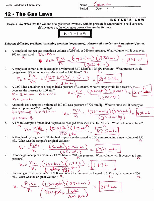 Ideal Gas Law Worksheet Best Of Ideal Gas Law Problems Worksheet