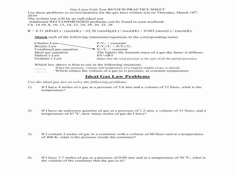 Ideal Gas Law Worksheet Best Of Ideal Gas Law Worksheet