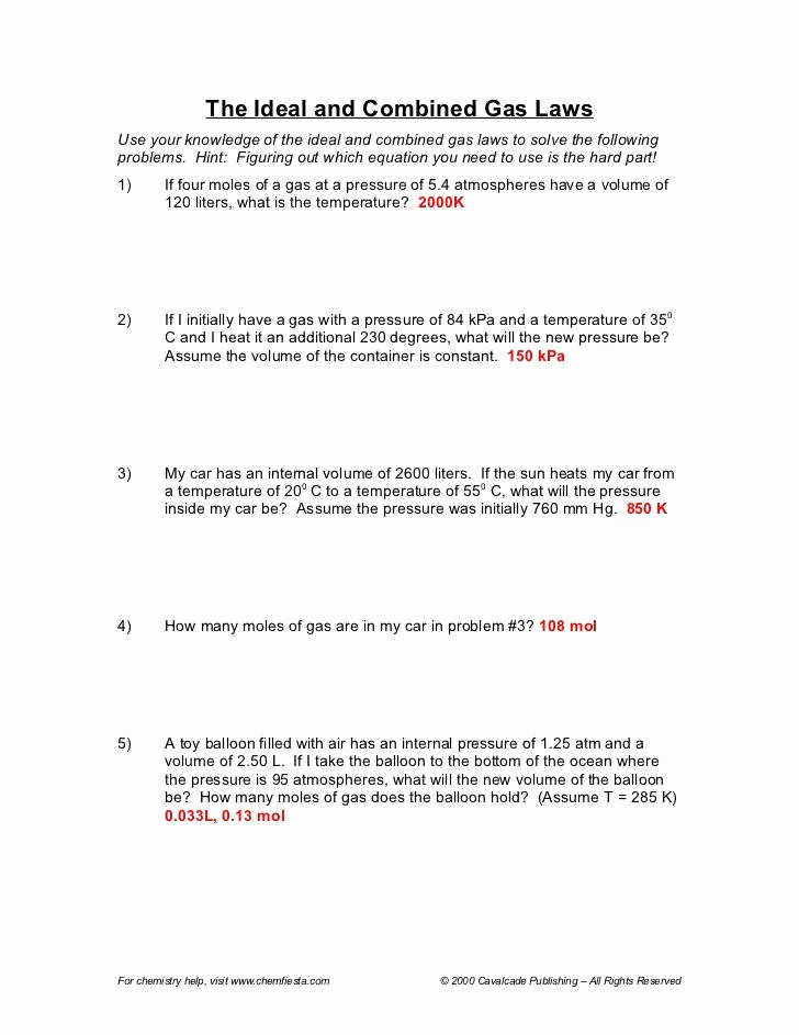 Ideal Gas Law Worksheet Inspirational Ideal Gas Law Practice Worksheet
