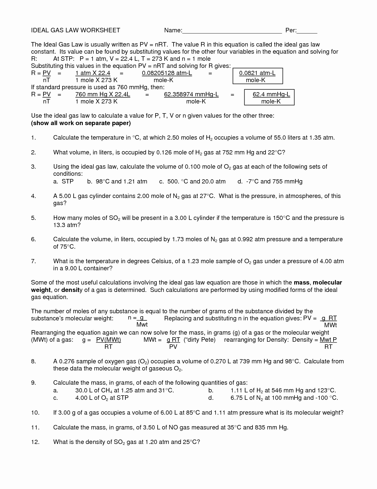 post gas law calculations worksheets answers