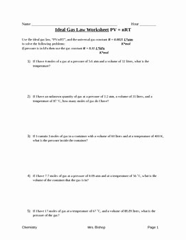 Ideal Gas Law Worksheet Lovely Ideal Gas Law Worksheet by Leah S Chemistry Corner