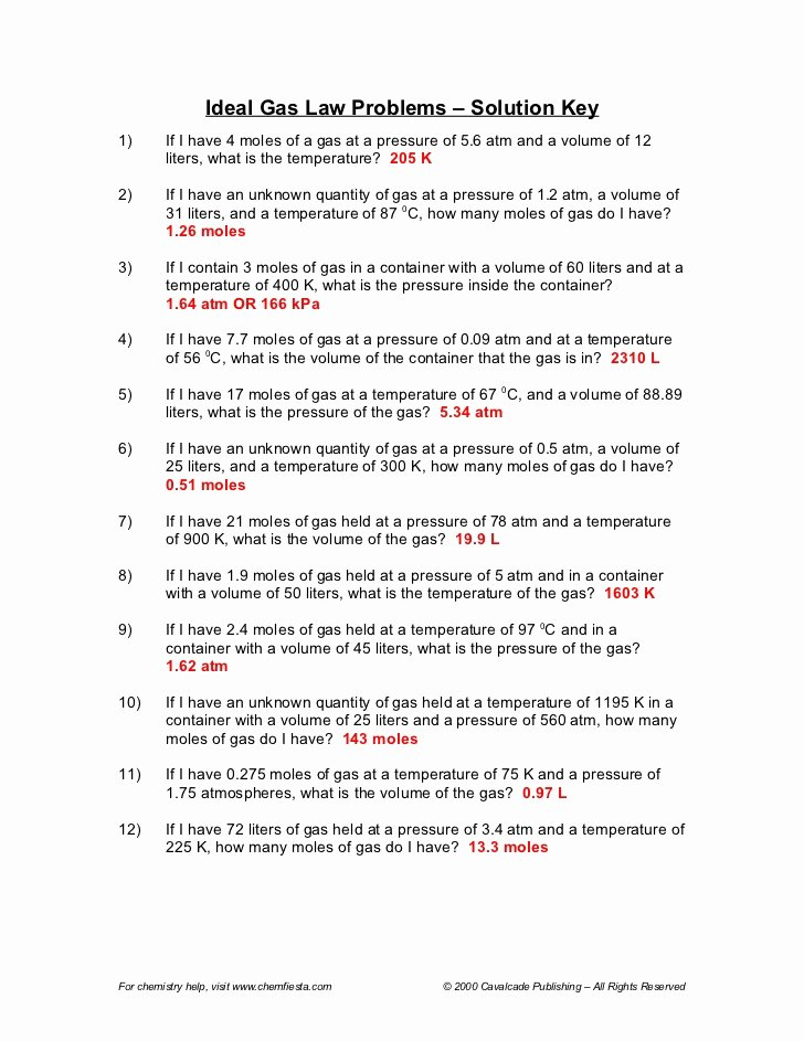 Ideal Gas Law Worksheet Luxury Gas Law Packet Answers