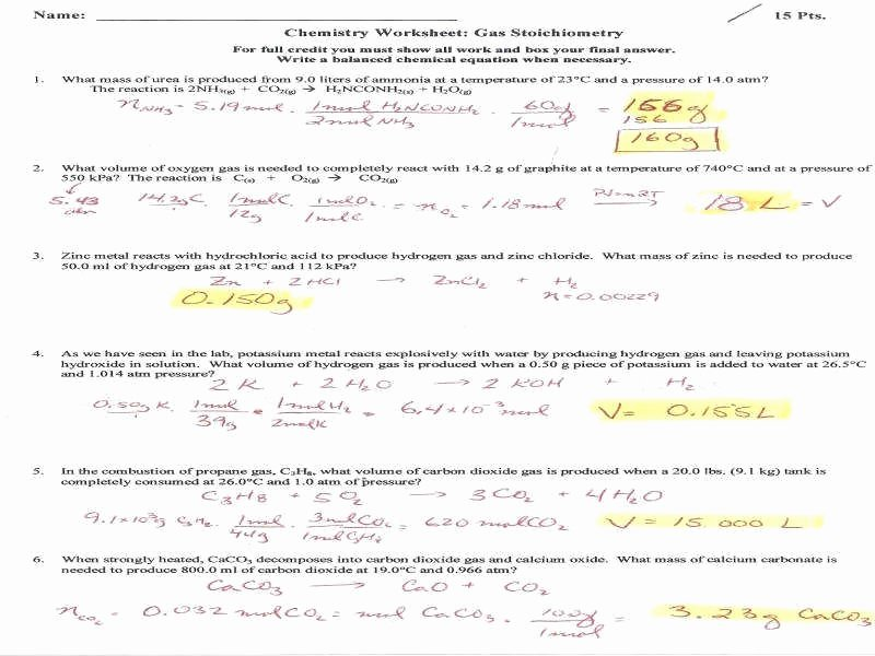 Ideal Gas Law Worksheet Luxury Ideal Gas Law Practice Worksheet