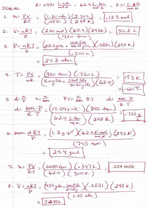 Ideal Gas Law Worksheet Luxury Ideal Gas Law Problems Worksheet