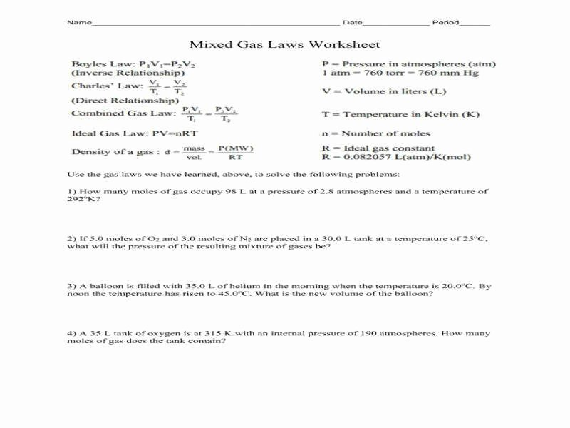 Ideal Gas Law Worksheet Unique Ideal Gas Law Practice Worksheet