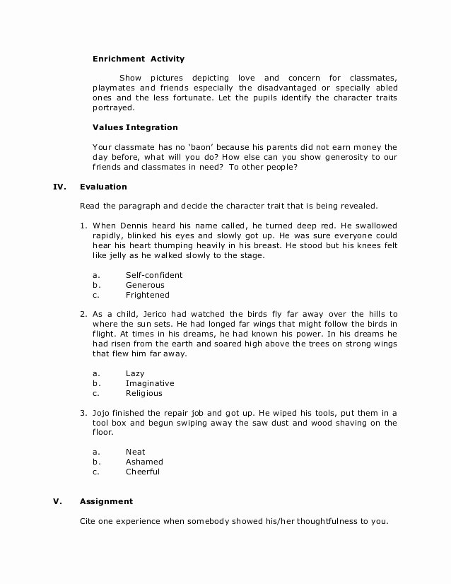 Identifying Character Traits Worksheet Beautiful Grade 6 English Reading Inferring Character Traits