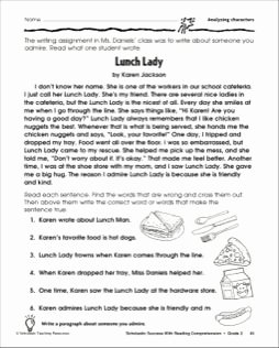 Identifying Character Traits Worksheet Elegant Lunch Lady Reading and Identifying Character Traits