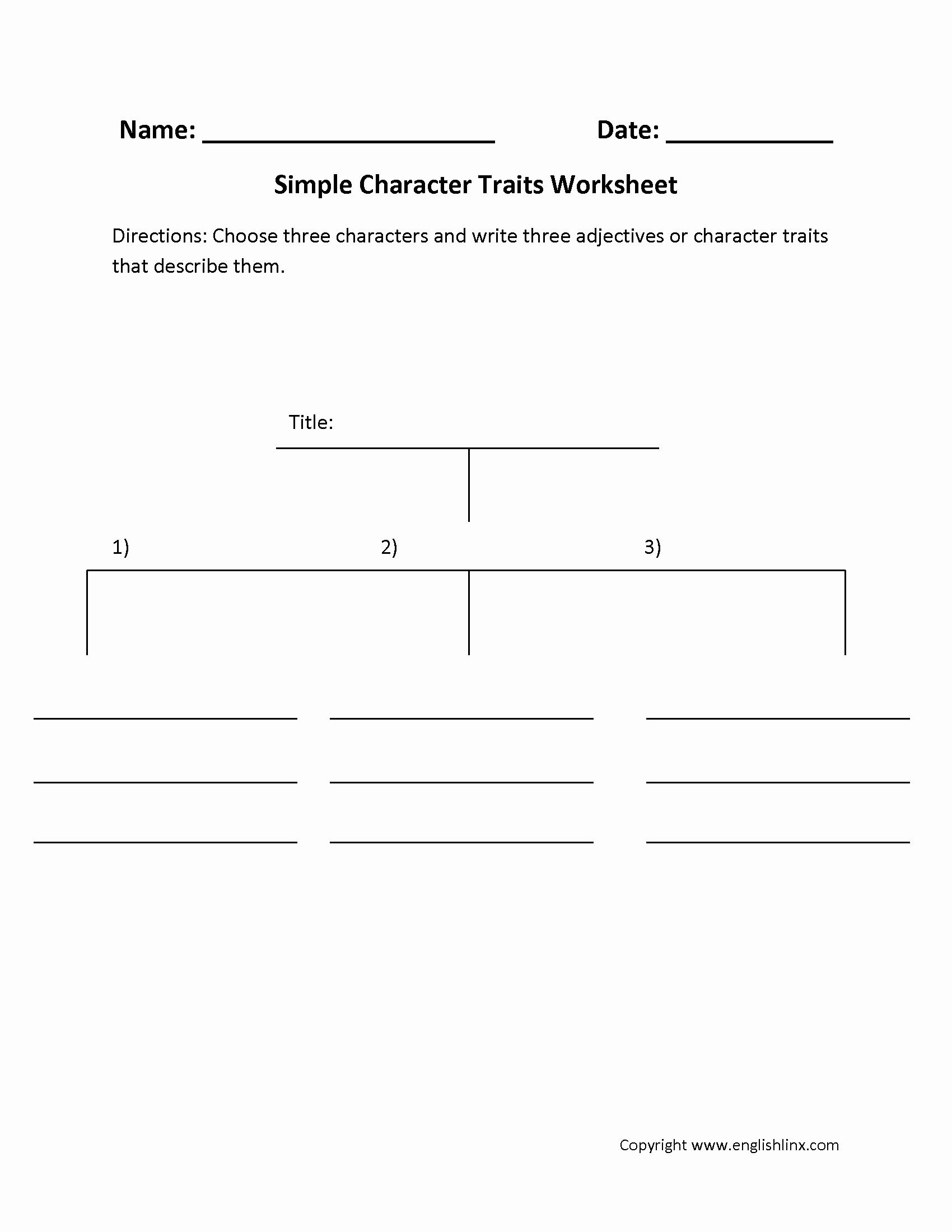 Identifying Character Traits Worksheet Elegant Worksheet Identifying Character Traits Worksheet