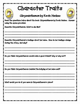 Identifying Character Traits Worksheet Fresh Chrysanthemum Character Traits Worksheets by Simplify and