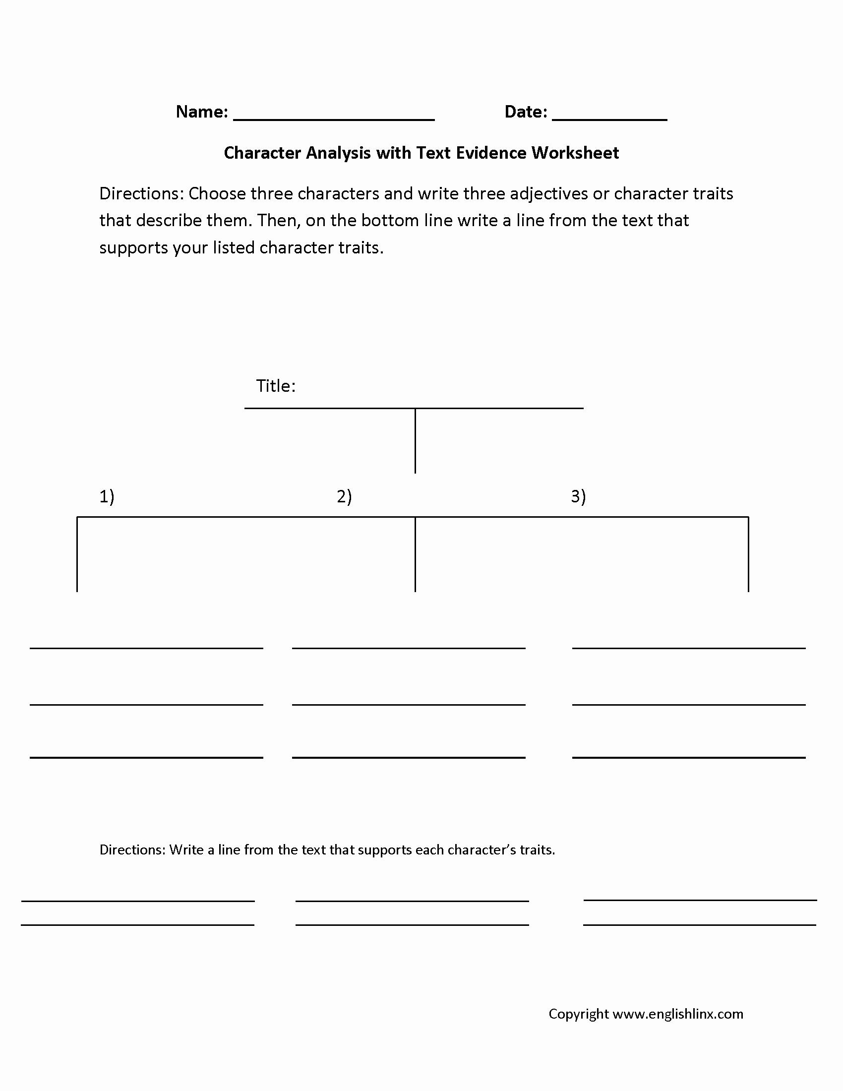 Identifying Character Traits Worksheet Fresh Worksheet Identifying Character Traits Worksheet
