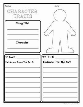 Identifying Character Traits Worksheet Luxury Character Traits Graphic organizer Worksheet by Your