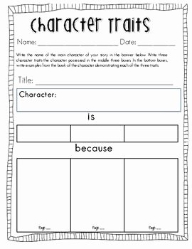 Identifying Character Traits Worksheet Luxury Teaching Character Traits – My Everyday Classroom