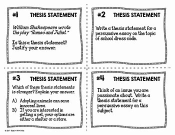 Identifying thesis Statement Worksheet Best Of thesis Statement Task Cards Black & White Ink Saver