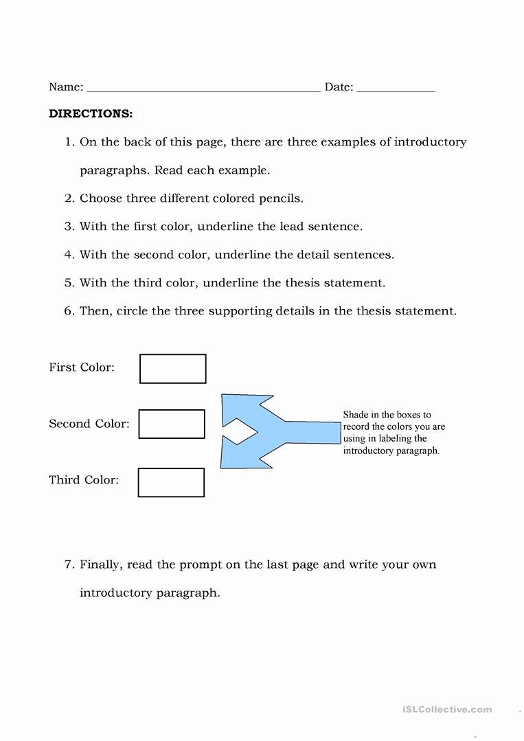 Identifying thesis Statement Worksheet Elegant Introductory Paragraphs Worksheet Free Esl Printable