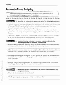 Identifying thesis Statement Worksheet Fresh Persuasive Essay Analyzing Worksheet for 6th 10th Grade