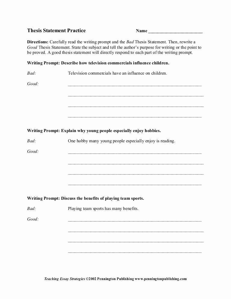 Identifying thesis Statement Worksheet Inspirational thesis Statement Worksheet