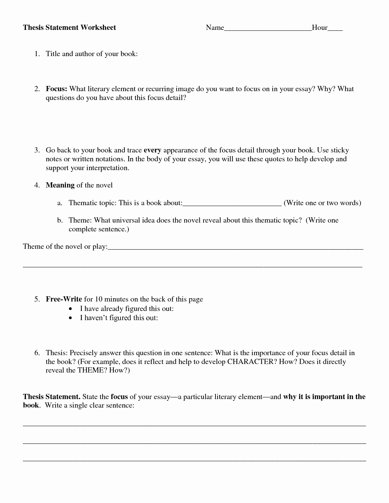 Identifying thesis Statement Worksheet Luxury Argument Essay thesis Worksheet