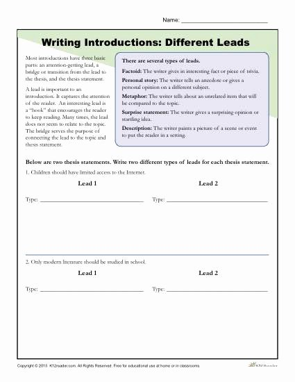 Identifying thesis Statement Worksheet Unique How to Write An Introduction Different Leads Worksheet