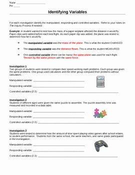 Identifying Variables Worksheet Answers Beautiful Identify Variables Worksheets by Ms Science Spot